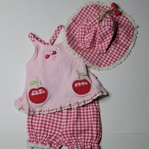 le.top Baby girl Plaid Sunsuit with Hat NWT